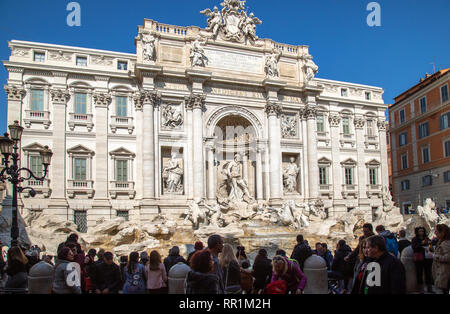 The Trevi Fountain in Rome Italy on a sunny spring day - Stock Image