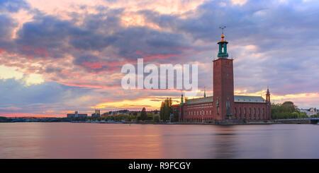 City Hall at sunset, Stockholm, Sweden - Stock Image