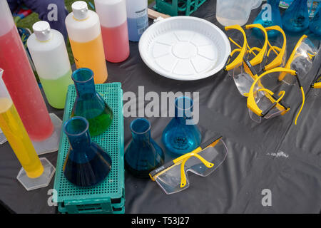 February 22, 2019 - Abu Dhabi, UAE: Top flat shot of Lab Flask with colorful liquid for science experiments - Stock Image