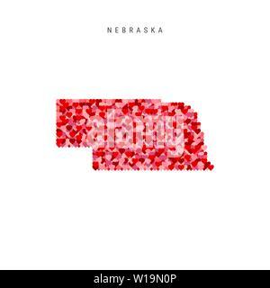 I Love Nebraska. Red Hearts Pattern Vector Map of Nebraska - Stock Image