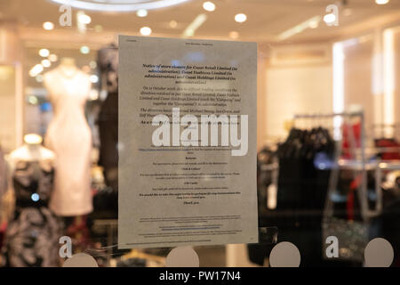 Leeds, UK. 11 October 2018. The Coast store in Leeds was closed this evening with the company announcing that it had been placed into administration Credit: James Copeland/Alamy Live News Credit: James Copeland/Alamy Live News - Stock Image