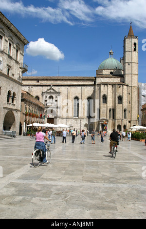 The famous, beautiful and historic piazza del popolo in Ascoli Piceno, Le Marche ,Italy - Stock Image