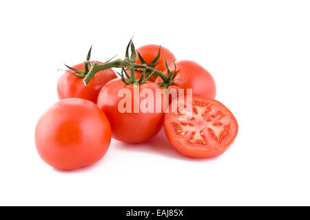 Bunch of red fresh tomatoes isolated on white background, vegetables - Stock Image