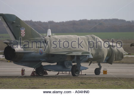 Pula Croatia Air show 2005 MiG21 BIS modernised Croatian Air Force parked - Stock Image