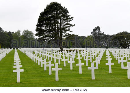The Normandy American Cemetery and Memorial is a World War II cemetery and memorial in Colleville-sur-Mer, Normandy, France - Stock Image