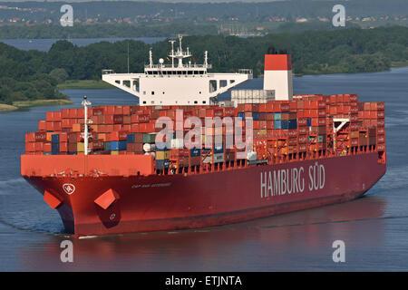 Cap San Artemissio inbound for Hamburg - Stock Image