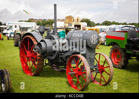 International Harvester Company Titan tractor on display at an English show - Stock Image