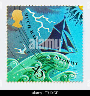 Postage stamp. Great Britain. Queen Elizabeth II. 45p stamp from 2001 Miniature Sheet MS2201 'Weather'. - Stock Image
