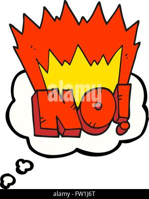 freehand drawn thought bubble cartoon NO! shout - Stock Image