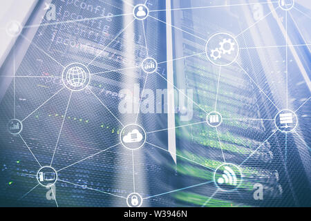 Technology infrastructure cloud computing and communication. Internet concept - Stock Image