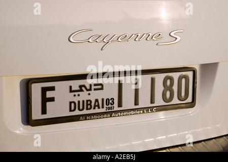 Dubai car number plate Porsche Cayenne - Stock Image