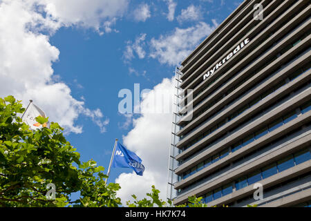 Headquarters of the Nykredit group, bank and mortgage-credit institute, at Kalvebod Brygge in Copenhagen, Denmark. - Stock Image