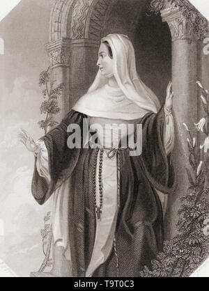 The Abbess.  Principal female character from Shakespeare's play Comedy of Errors.  From Shakespeare Gallery, published c.1840. - Stock Image