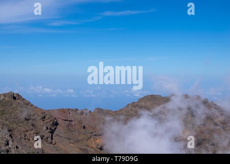 Above the clouds, volcanic landscape at Roque de los Muchachos, the highest point on La Palma Island, Canaries - Stock Image