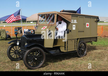 1918 Ford Model T Ambulance replica. World War 1 Dawn Patrol Anniversary Rendezvous event. The National Museum of the United States Air Force, Wright  - Stock Image