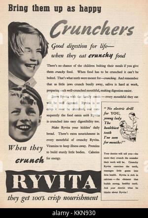 1938 UK Magazine Ryvita Advert - Stock Image