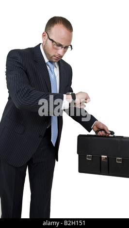 businessman getting late on isolated background - Stock Image