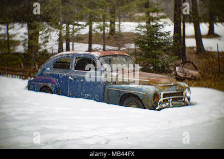 1960 Volvo PV 544 coupe, burried in the snow, in a wooded area, in Noxon, Montana.  This image was shot with an antique Petzval lens and will show sig - Stock Image