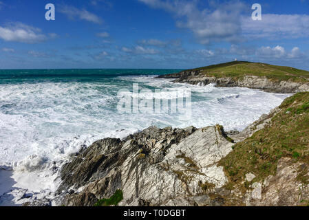 The rugged coastline at Little Fistral and Towan Head in Newquay in Cornwall. - Stock Image