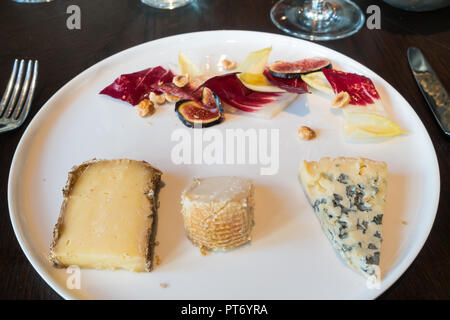 Lunch dishes at the Roux at the landau inThe Langham Hotel, UK.Cheese plate. - Stock Image
