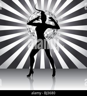 Disco queen silhouette - Stock Image