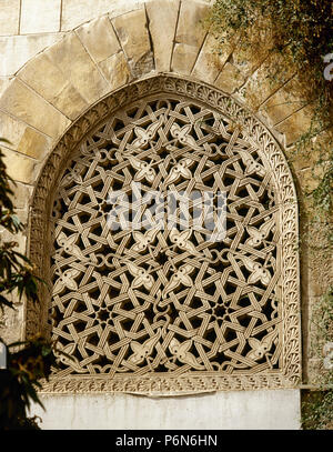 Syria. Damascus. (Ancient City). Azam Palace. It was built in 1749-1752. Private residence for As'ad Pasha al-Azm, governor of Damascus. Ottoman style. Detail of a window. - Stock Image