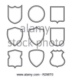 Collection of shield silhouettes isolated on white background. Security symbol. - Stock Image