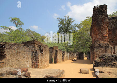 the ruins of the royal palace of king parakrambahu in polonnaruwa archaeology park in the cultural triangle of sri lanka - Stock Image