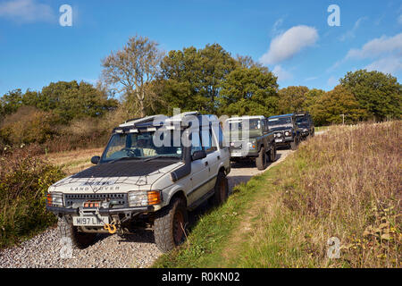 Land Rovers on a 'Byway Open To All Traffic' at Newlands Corner on the North Downs. Guildford, Surrey, England. - Stock Image