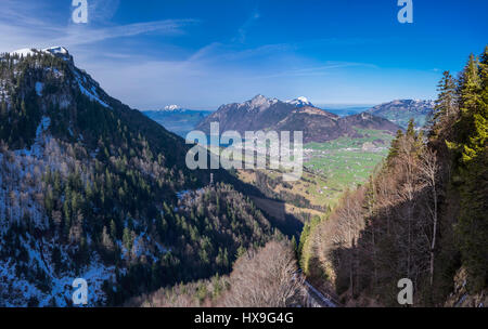 Panoramic view of the Rigi mountain range and the town of Brunnen beneath it. Canton of Schwyz, Central Switzerland. - Stock Image