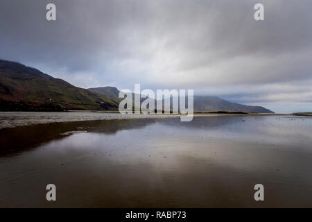 Maghera, County Donegal, Ireland. 3rd January 2019. Looking towards Slievetooey Mountain or Sliabh Tuaidh in the Irish language which stands 510 metres above sea level and is often topped with fog, sea-mist or low clouds. Credit: Richard Wayman/Alamy Live News - Stock Image