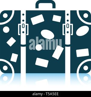 Suitcase icon. Shadow reflection design. Vector illustration. - Stock Image