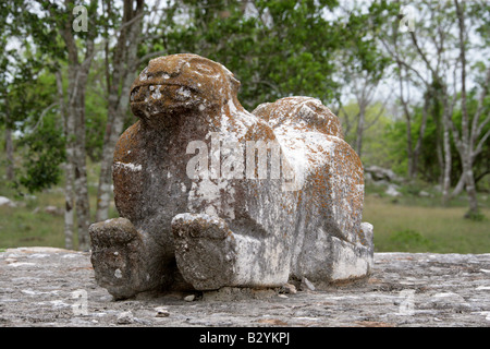 Jaguar Statue, Uxmal Archeological Site, Yucatan Peninsular, Mexico - Stock Image