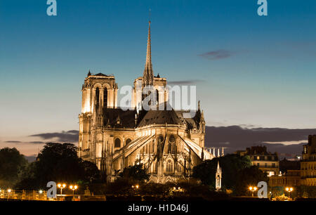 The Notre Dame is a historic catholic cathedral on the eastern half of the Ile de la Cite in the 4th arrondissement - Stock Image
