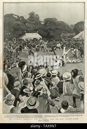 Children's coronation fete for King Edwaqrd VII in Victoria Park, Comic Cricket match, 1902 - Stock Image
