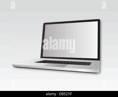 Open laptop on grey background - Stock Image