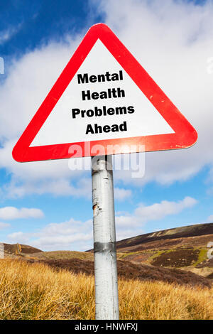 Mental health problems ahead NHS crisis team teams struggling to cope with depression anxiety ptsd stress worry - Stock Image