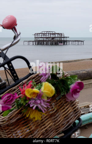remains of the West Pier, Brighton, United Kingdom - Stock Image