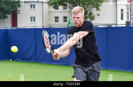 Eastbourne UK 24th June 2019 -   Kyle Edmund of Great Britain practices on an outside court at the Nature Valley International tennis tournament held at Devonshire Park in Eastbourne . Credit : Simon Dack / TPI / Alamy Live News - Stock Image