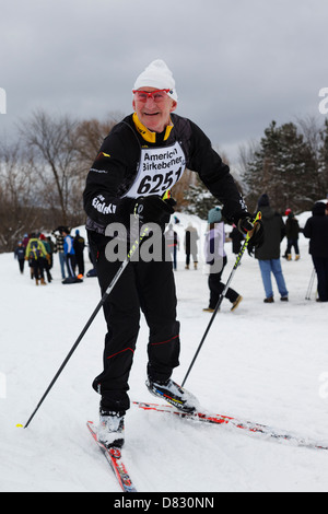 A competitor nears the finish line of the American Birkebeiner in Hayward, Wisconsin on February 23, 2013. - Stock Image