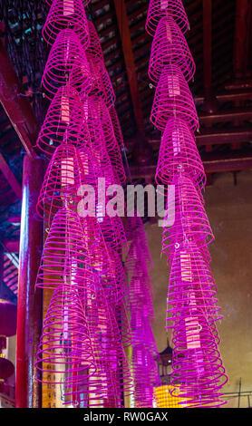 Incense Coils, Guan Di (Kuan Ti) Taoist Temple, Chinatown, Kuala Lumpur, Malaysia. - Stock Image