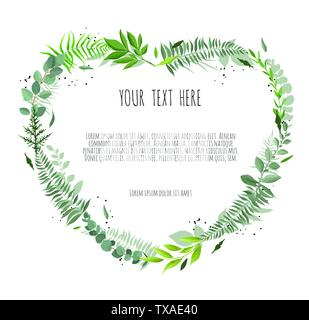 Floral vector frame with branches leaves foliage - Stock Image