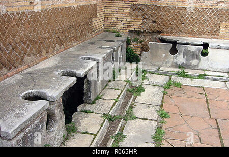 6389. Public toilets, Ostia, Italy, Roman period. - Stock Image