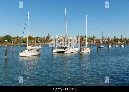 Recreational sailboats moored in the Mooloolah River at Mooloolaba, Sunshine Coast, Queensland, Australia - Stock Image