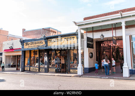 Santa Fe, USA - June 14, 2019: Old town street and trading post in United States New Mexico city with old architecture - Stock Image