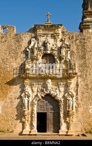 Mission San Jose church entrance doorway wood door San Antonio Texas Tx Missions National Park - Stock Image