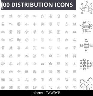 Distribution line icons, signs, vector set, outline illustration concept  - Stock Image