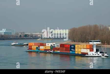 Container ship river Rhine Cologne Germany - Stock Image