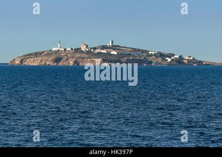 Isabel II island (Isla de isabel II) in front of Cap de l'eau (ras lma) - Stock Image