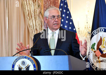U.S. Secretary of State Rex Tillerson hosts the 2017 Trafficking in Persons Report Launch Ceremony at the U.S. Department - Stock Image